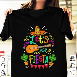 Awesome Cinco De Mayo Let's Fiesta Guitar Cactus shirt