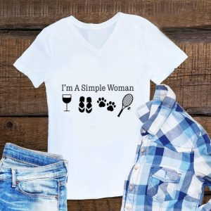 Awesome I'm A Simple Woman Wine Flip Flops Dog Paw Tennis shirt