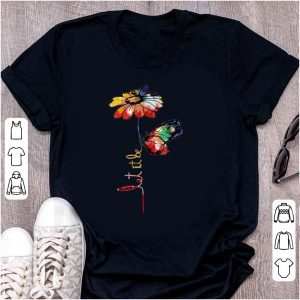 Awesome Let It Be Colorful Flower And Butterfly shirt