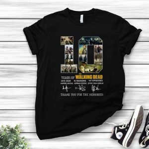 Hot 10 Years Of The Walking Dead Thank You For The Memories Signature shirt