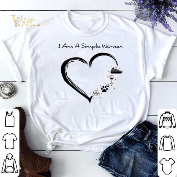 I am a simple woman i like flip flop paw dog wine cruise ship shirt sweater