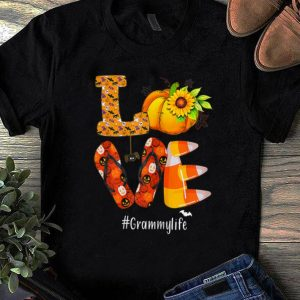 Original Love Grammylife Pumpkin Flip Flops Halloween shirt