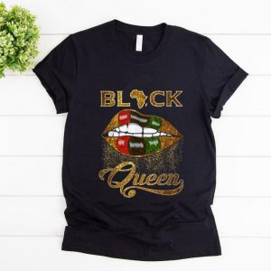 Premium Black Queen Lips Red Green African Flag shirt