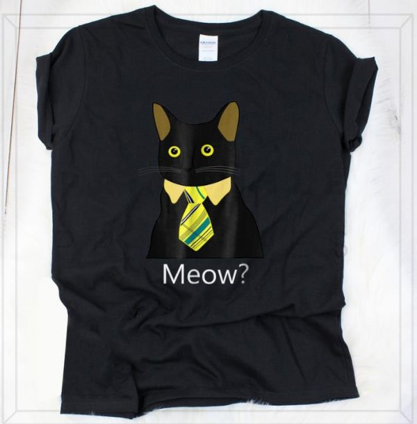 Top Black Business Cat Kitten with Yellow Tie Meow shirt