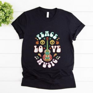 Top Peace Love Music Guitar Hippies Retro shirt