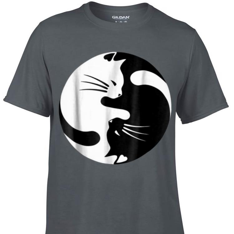 Awesome Black And White Cats Yin Yang Shape shirt 1 - Awesome Black And White Cats Yin Yang Shape shirt