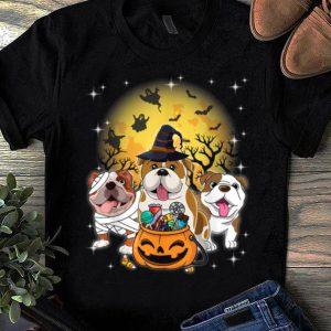 Awesome English Bulldog Mummy Witch Dog Moon Ghosts Halloween shirt