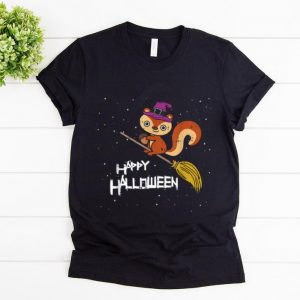 Awesome Squirrel Witch Broomstick Night Costume Funny Halloween Gift shirt