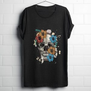 Funny Colorful Skull and Flowers shirt