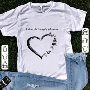 Funny I am a simple woman heart camping mountain wine animals and flip flop shirt