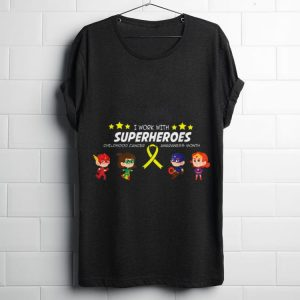 Funny I work with superheroes Childhood cancer awareness shirt
