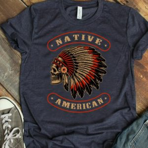 Hot Native American Indians Chief Skull War Bonnet Feather Hat shirt