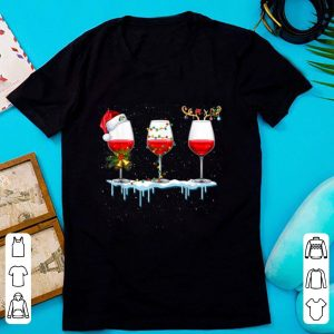 Hot Three Glass of Red Wine Santa Hat Christmas For Men Women shirt