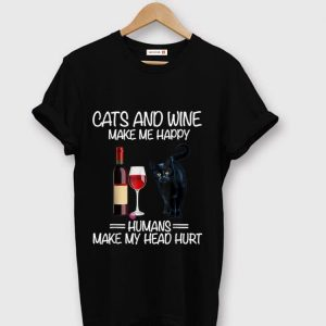 Official Cats And Wine Make Me Happy Black Cats And Wine shirt
