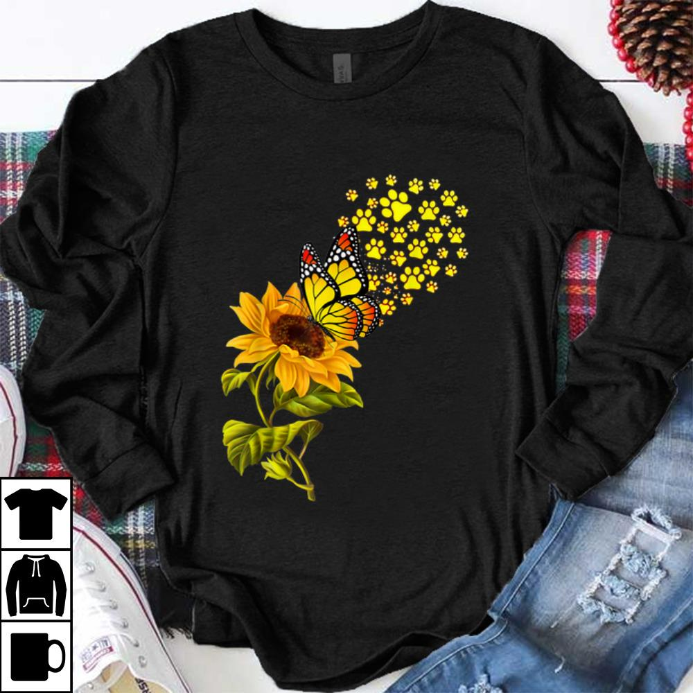 Official Dog Paw Sunflower And Butterfly shirt 1 - Official Dog Paw Sunflower And Butterfly shirt