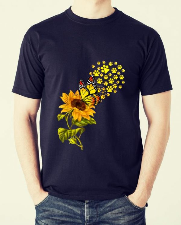 Official Dog Paw Sunflower And Butterfly shirt