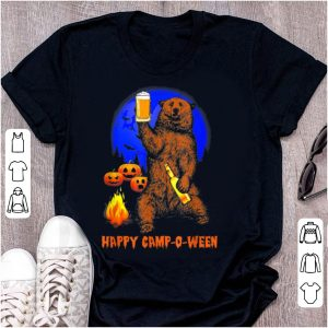 Official Happy Camp-o-ween Funny Pumpkin Bear Moon Halloween Camping shirt