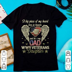 Official WWII Veterans Daughter Heart Live In Heaven American Flag shirt