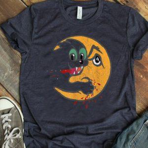 Premium Retro Creepy Cat Bloody Moon Attack Funny Horror shirt