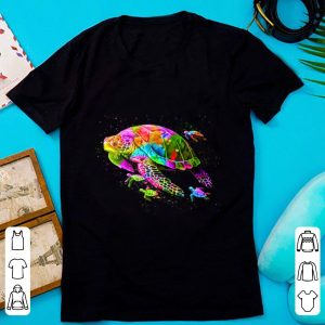 Pretty Colorful Sea Turtle With Baby shirt