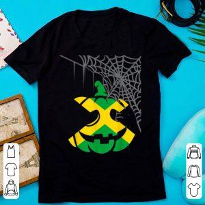 Pretty Jamaica Halloween Costume Jamaican Flag Pumpkin Spiderweb shirt