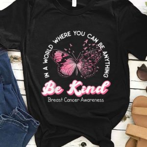 Awesome Be Kind Pink Ribbon Butterfly Breast Cancer Awareness shirt