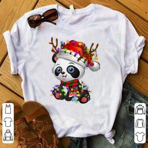 Awesome Panda Christmas Reindeer Christmas Lights shirt