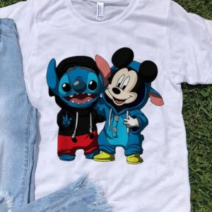 Hot Baby Stitch And Mickey Mouse shirt