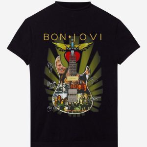 Hot Bon Jovi Signatures Guitar shirt