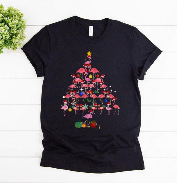 Hot Flamingo Christmas Tree shirt
