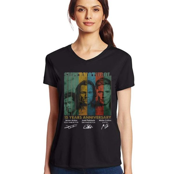 Official Supernatural 15 Years Anniversary Signature Vintage shirt