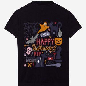 Original Happy Halloween Night Trick Or Treat Cat Pumpkin Witch Boo shirt