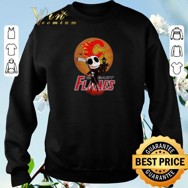 Original Jack Skellington Holding Hockey Stick Calgary Flames shirt sweater