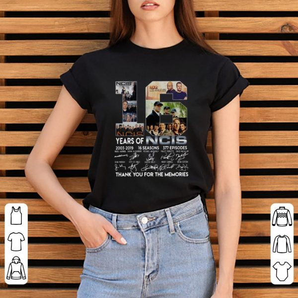Premium 16 Years Of NCIS 2003 2019 Thank You For The Memories Signatures shirt