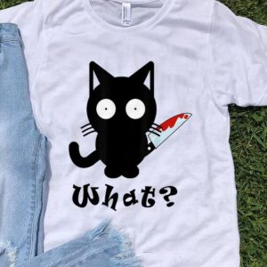 Premium Black Cat What Murderous Cat Bloody Knife Halloween shirt