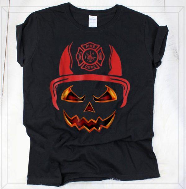 Premium Firefighter pumpkin Face Funny Halloween Costume shirt