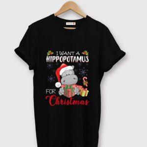 Premium I Want A Hippopotamus For Christmas Xmas Hippo shirt