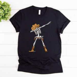 Top Dabbing Skeleton Cowboy Hat Halloween Kids Boys Dab shirt