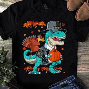 Awesome Thanksgiving T-Rex Dinosaur Dabbing Turkey Funny Gift Boy shirt