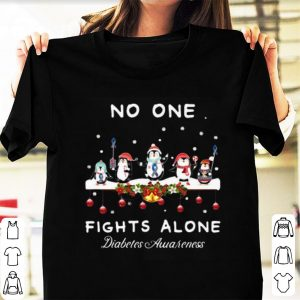 Awesome Ugly Christmas Penguins No One Fights Alone Diabetes Awareness shirt