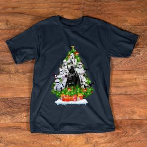 Funny Star Wars Darth Vader And Stormtrooper Christmas Tree shirt