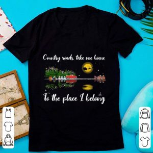Hot Guitar Lake Christmas Country Roads Take Me Home To The Place I Belong shirt