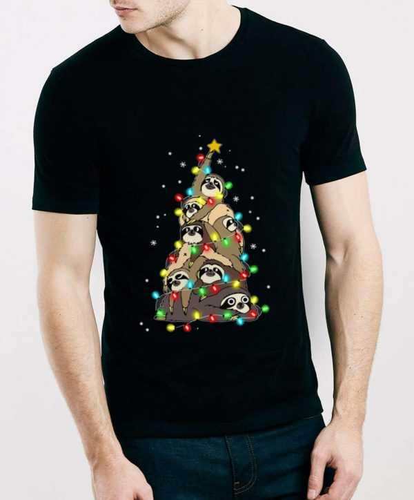 Hot Sloth Merry Christmas Tree shirt