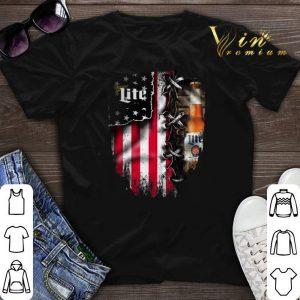 Miller Lite inside American flag shirt