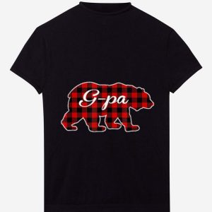 Nice Mens Red Plaid G-Pa Bear Buffalo Matching Family Pajama shirt