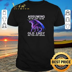 Nice Purple Dragon Assuming I'm just an old lady was your first mistake shirt sweater 2019