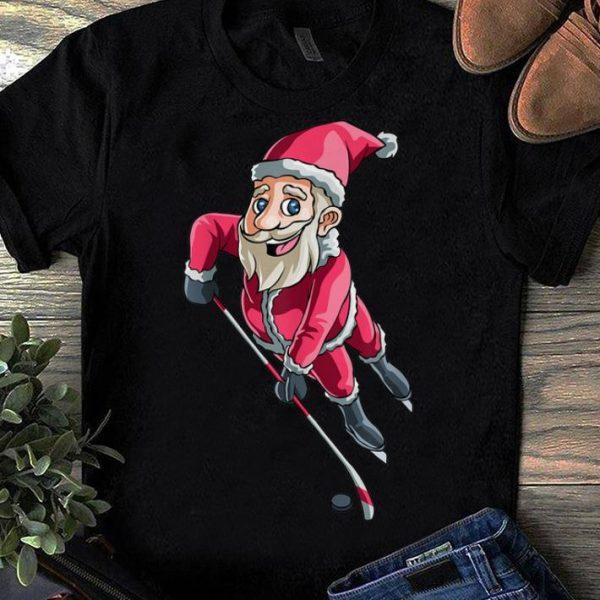 Original Santa Ice Hockey Christmas Hat Puck Snow Funny Gift shirt