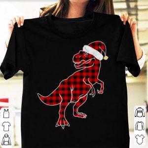 Premium Red Plaid Dinosaur Hat Santa Matching Buffalo Family Pajama shirt
