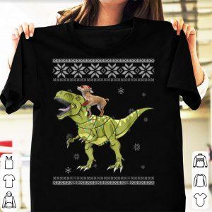 Pretty Chihuahua Riding T Rex Dinosaur Christmas Light Xmas shirt