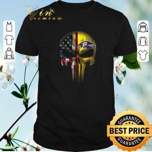 Pretty Punisher Skull American flag Baltimore Ravens shirt sweater